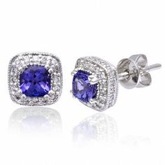 18ct White Gold Studs Earrings 0 7ct Aaa Blue Round Brilliant Tanzanite 30ct H