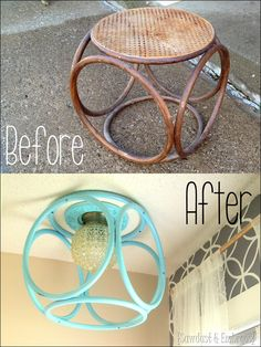 Turn and old end table into a fabulous modern light fixture! {Sawdust and Embryos}