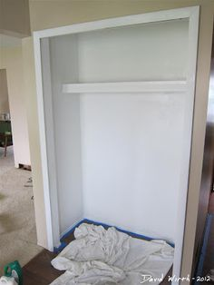 House painting, photoshop design, how to paint stairs, and time lapse video photography of the whole process. Closet Doors Painted, Painted Interior Doors, Bedroom Closet Doors, Painted Bedroom Furniture, Painted Stairs, Bedroom Color Schemes, Bedroom Colors, Colour Schemes, Bedroom Design Inspiration