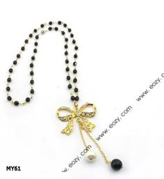 70cm Black Beads Golden Necklace Sweater Chain Jewelry Vintage Charms