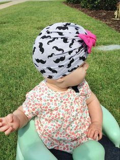 Bow Turban Hat (beanie) pattern for babies through adults. Makes a great cancer cap too!