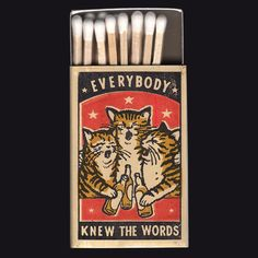 raviamarzupa Everybody Knew The Words! This is from a series of new matchbox prints I collaborated on with @arnamiller. Hand printed by us! Her show is called Strike Your Fancy and will feature new prints by Arna as well as some of our collaborations. Opening is June 1st @abstractdenver gallery from 6-10 pm. Come by, we'd love to see you! #matchboxart #catart #strikeyourfancy #safetymatches #abstractdenver #denvergallery #arnamiller #ravizupa #blockprint #drunksinging