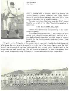 1928-29 UO varsity baseball review.  From the 1929 Oregana (University of Oregon yearbook).  www.CampusAttic.com