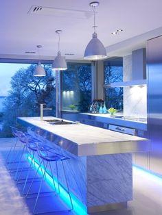 Beau Amazing Kitchen Uses Ice Blue LED Strip Lights! Modern Kitchen Lighting, Kitchen  Lighting Fixtures