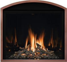 Model FV41 with Narrow Grace Arch front in Copper finish. Fireplace Fronts, Fireplace Inserts, Gas Fireplace, Hearth, Copper, Doors, House Styles, Model