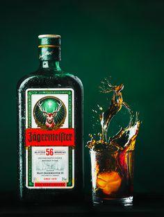 Jägermeister on Behance Party Drinks, Fun Drinks, Alcoholic Drinks, Liquor Bottles, Vodka Bottle, Jaegermeister Drinks, Irish Drinks, Graphic Design Lessons, Photography Branding