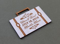 wood engraved suit case save the date for destination wedding