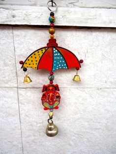 Diwali home decor, ganesha wall hanging, bell hanging, umbrella door hanging, Indian home decor, wooden ganpati by craftcoloursindia on Etsy