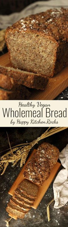 Healthy Wholemeal Bread recipe is vegan, simple and just perfect for beginner bakers. Learn how to bake no-fail healthy whole grain bread using just a few ingredients you can easily tweak! (no bake recipes savory) Healthy Bread Recipes, Baking Recipes, Real Food Recipes, Vegan Recipes, Yummy Food, Delicious Recipes, Wholemeal Bread Recipe, Brunch Recipes, Breakfast Recipes