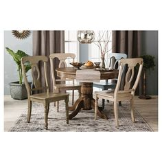 Hadley Wire Brush Round Dining Table - Gray Wash