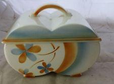 antike Keramik Dose Art Deco Spritzdekor