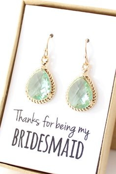 Prasiolite Green / Gold Bridesmaid Earrings  Light by ForTheMaids