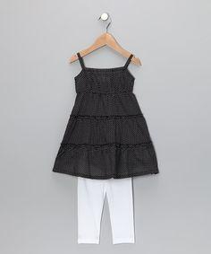Love this Black Pin Dot Tunic & Leggings - Toddler & Girls on #zulily! #zulilyfinds