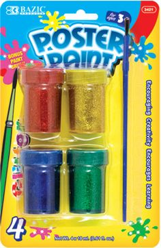 Bazic 4 Color 18ml Glitter Poster Paint with Brush Case Pack 24