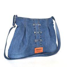Jean crossbody bag , Recycled hobo bag ,Blue denim purse ,Jean school bag ,Cross over purse ,College bag,Denim crossbody bag ,Shop Canada