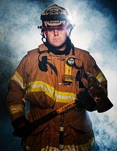 A fantastic firefighter portrait by reader Jeremy Long. Fog machines rule.