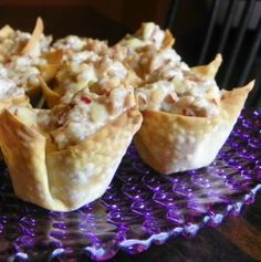 Spicy Sausage Won Ton Appetizer. Cheese and spicy sausage all bubbly in a pastry bowl? You know these are going to be good.