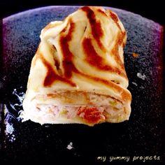 Crêperöllchen mit Frischkäse und Radieschensprossen, Crêpe with creamcheese and radish sprouts, myyummyprojects foodblog