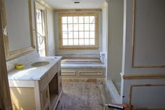 Beach House Bathroom, Master Bathroom, Small Linen Closets, Picture Frame Molding, Old Garage, Stone Panels, Old Room, Wood Stone, Wood Paneling