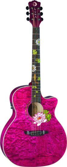 Lotus Custom Grand Concert Acoustic-Electric Guitar | Fuchsia, chartreuse, turquoise, gold inlay { by Luna Flora } WANT.