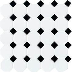 Daltile Matte White with Black Dot 12 in. x 12 in. x 6 mm Ceramic Octagon/Dot Mosaic Tile (10 sq. ft. / case)-65012OCT21CC1P2 - The Home Depot