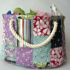 Even if they're only a couple inches, you can't bring yourself to throwing away your scraps. They may take up space, but they're valuable shreds of material. The Scrap Bucket Basket is the perfect negotiation for this situation. From this free pattern and tutorial, you can learn how to sew a basket with a patchwork body to take care of your extra supplies.