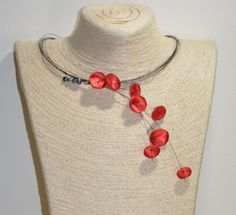 red poppy unique handmade necklace with black pearls and satin. Black Pearls, Light Spring, Flower Jewelry, Red Poppies, Handmade Flowers, Handmade Necklaces, Poppy, Beaded Necklace, Satin