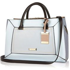 River Island Blue structured hinged handbag featuring polyvore women's fashion bags handbags purses sale blue tote bag blue handbags tote purse zip top tote bag shopping tote bags