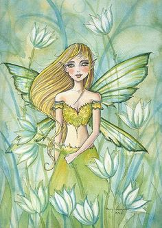 Fairy in Green ~ Molly Harrison Fantasy Mermaids, Unicorns And Mermaids, Angel Drawing, Kobold, Fairy Pictures, Fairy Coloring, Vintage Fairies, Woodland Fairy, Fairytale Art