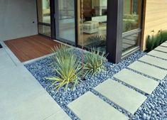 Concrete Paving Design Landscape Modern With River Pebbles Rock Garden  Permeable Paving