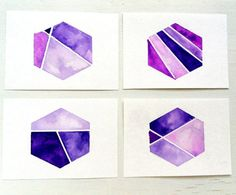 Color Block Hexagon Watercolor ACEO Set / Instant Geometric Collection / Nate Berkus inspired by tribalink. Explore more products on http://tribalink.etsy.com