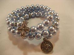 Swarovski Light Blue Pearls Memory Wire Rosary by rockmybeads, $39.00