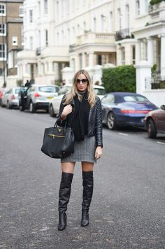 jumper grey dress roll neck and over the knee boots 3