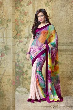 Super Attractive Multicolor Color Georgette Saree Endorsed By Neha Sharma Sari Blouse, Anarkali, Lehenga, Bollywood Sarees Online, Bollywood Actors, Saree Poses, Neha Sharma, Saree Shopping, Georgette Sarees