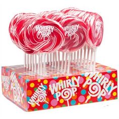 $2.99 Red & White Whirly Pop Swirl Pop  http://www.thecandycity.com/wholesale-bulk-candy/whirly-pops-red-and-white.html
