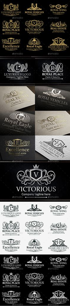 Heraldic Royal Luxurious Crest Logos Vol 41 - Badges & Stickers Web Elements