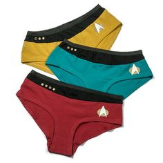 3 panties for for the Star Trek fan in your life, one for each division: Red, Green, and Blue!  Show your support for the future, or rather, don't show it