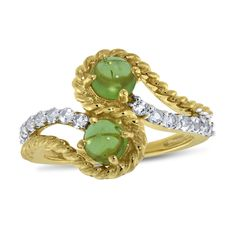 Viola, Round-cut Peridot & White Topaz Ring in Sterling Silver Yellow Plated
