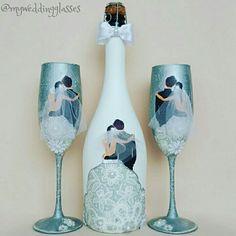 Свпдебное шампанское и бокалы