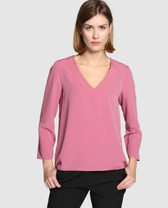 Blusa de mujer Zendra El Corte Inglés en color rosa con escote de pico