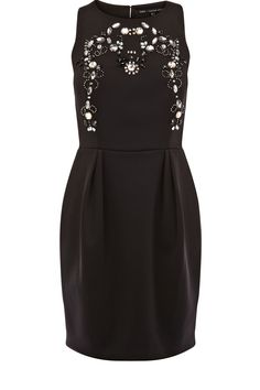 This sleeveless scuba dress is high necked in style with stone embellishment to the upper body.