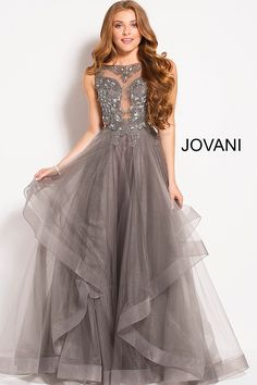 Floor length charcoal prom gown features layered horsehair trim skirt and  embellished sheer neckline sleeveless bodice 4e6ec1ee27c0
