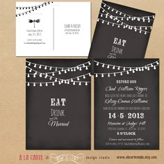 String Light Chalkboard Inspired Wedding Invitation Card and RSVP. $30,00, via Etsy.