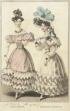 Ballgown and evening dress, ca late 1820's United Kingdom
