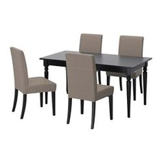 IKEA - INGATORP / HENRIKSDAL, Table and 4 chairs, Extendable dining table with 1…