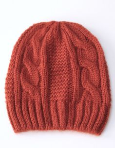 A+stylish+cable+knit+beanie+with+a+ribbed+trim:+just+what+you+need+to+keep+the+cold+out+this+winter.+Comes+in+Charcoal+and+Orange+