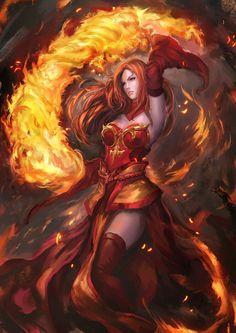 Female Fire Sorcerer - Pathfinder PFRPG DND D&D d20 fantasy