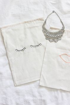 DIY embroidered drawstring bag