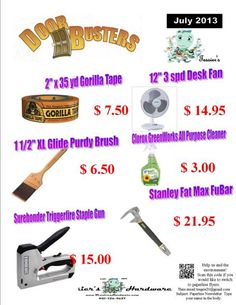 July 2013 Sizzlin' Summer Doorbusters    http://www.tessiershardware.com/shop/wp/?product_cat=monthly-doorbusters