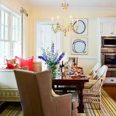 Making the kitchen cozy. Who doesn't want to sit in the big comfy wing chairs and stay? Not the colors, the seating for the kitchen.